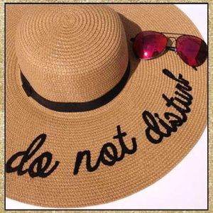 Accessories - 'Do Not Disturb' Camel & Black Floppy Sun Hat